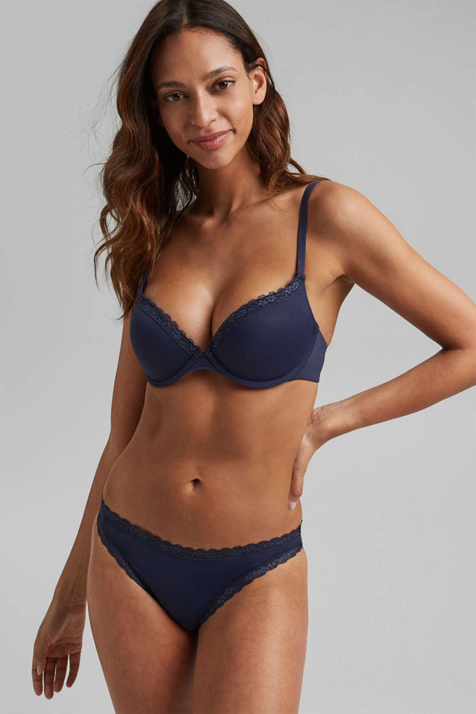 Push-up bra with crocheted lace, HAPPY NAVY, detail image number 0