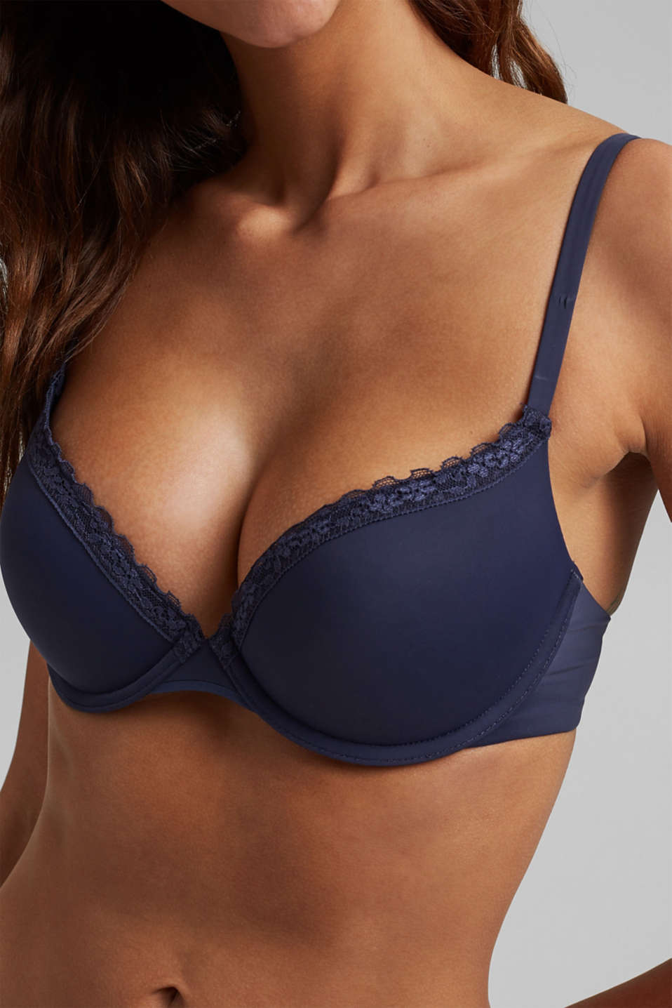 Push-up bra with crocheted lace, HAPPY NAVY, detail image number 2