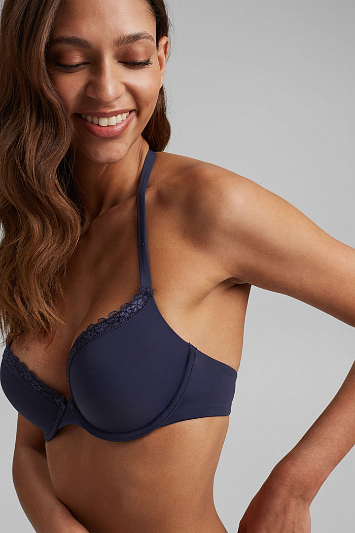 Push-up bra with crocheted lace, HAPPY NAVY, detail image number 4
