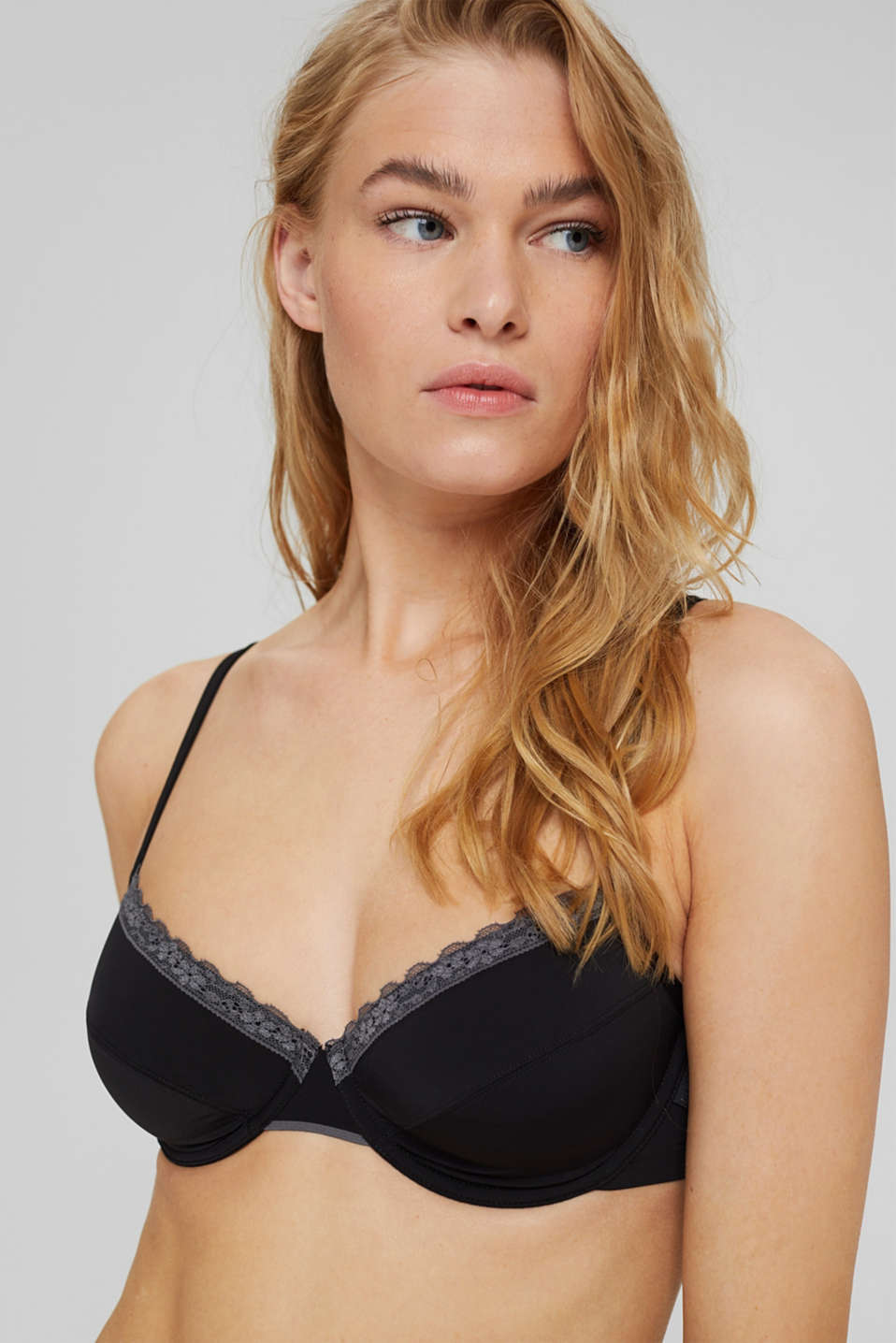 Unpadded underwire bra with a lace trim, BLACK, detail image number 6