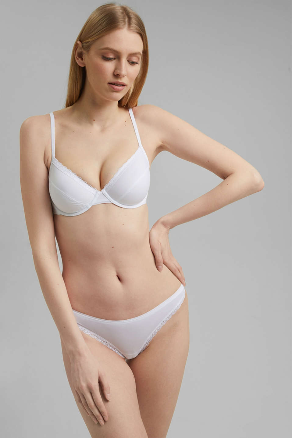 Unpadded underwire bra with a lace trim, WHITE, detail image number 2