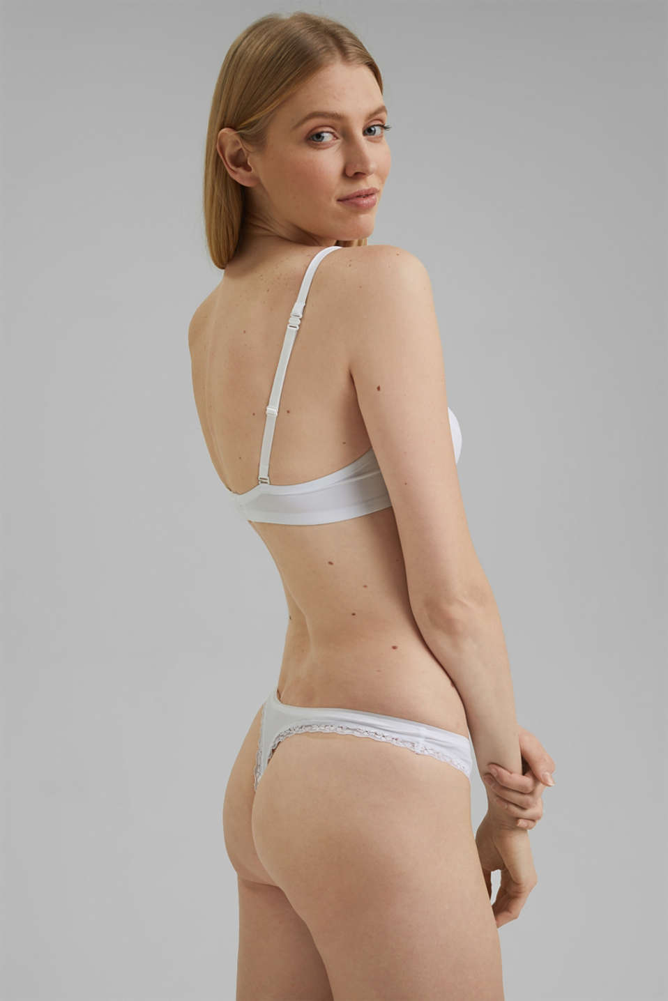 Unpadded underwire bra with a lace trim, WHITE, detail image number 1