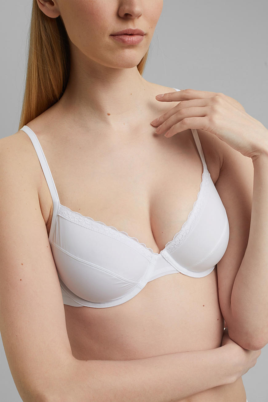 Unpadded underwire bra with a lace trim
