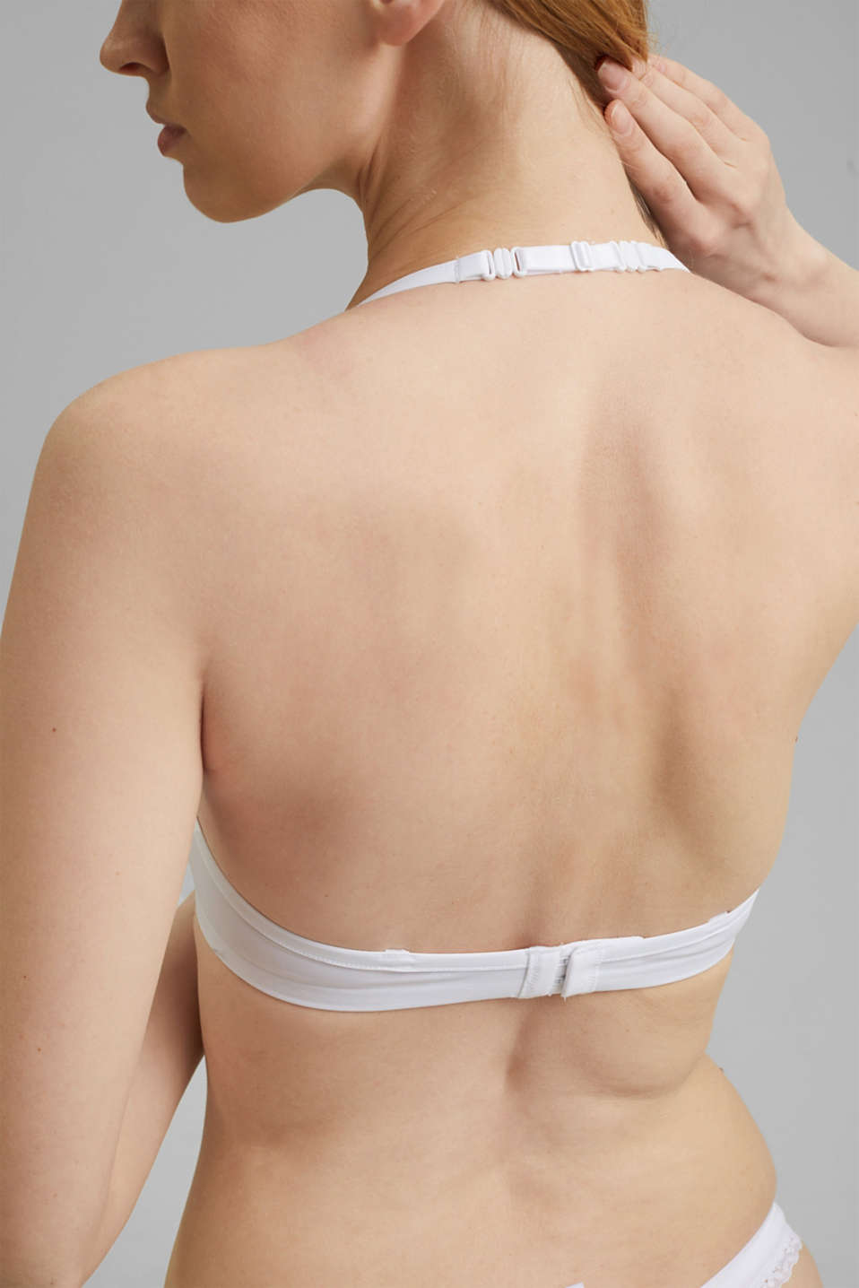 Unpadded underwire bra with a lace trim, WHITE, detail image number 4