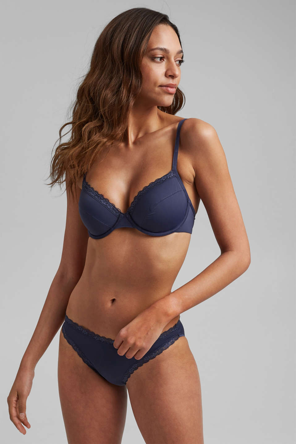 Unpadded underwire bra with a lace trim, HAPPY NAVY, detail image number 2