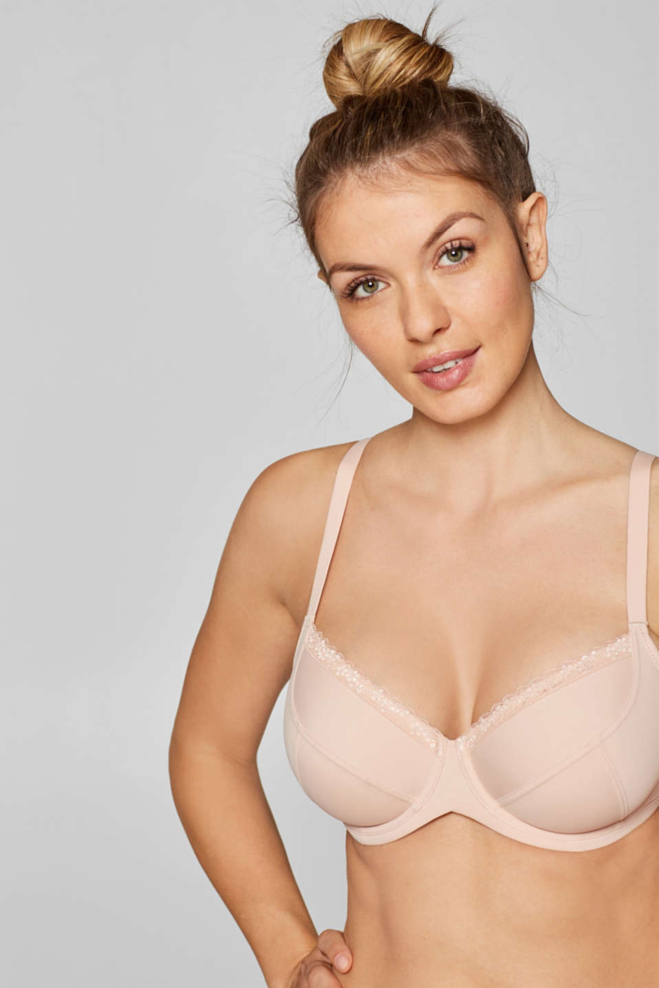 Unpadded underwire bra for larger cup sizes, PASTEL ORANGE, detail image number 0