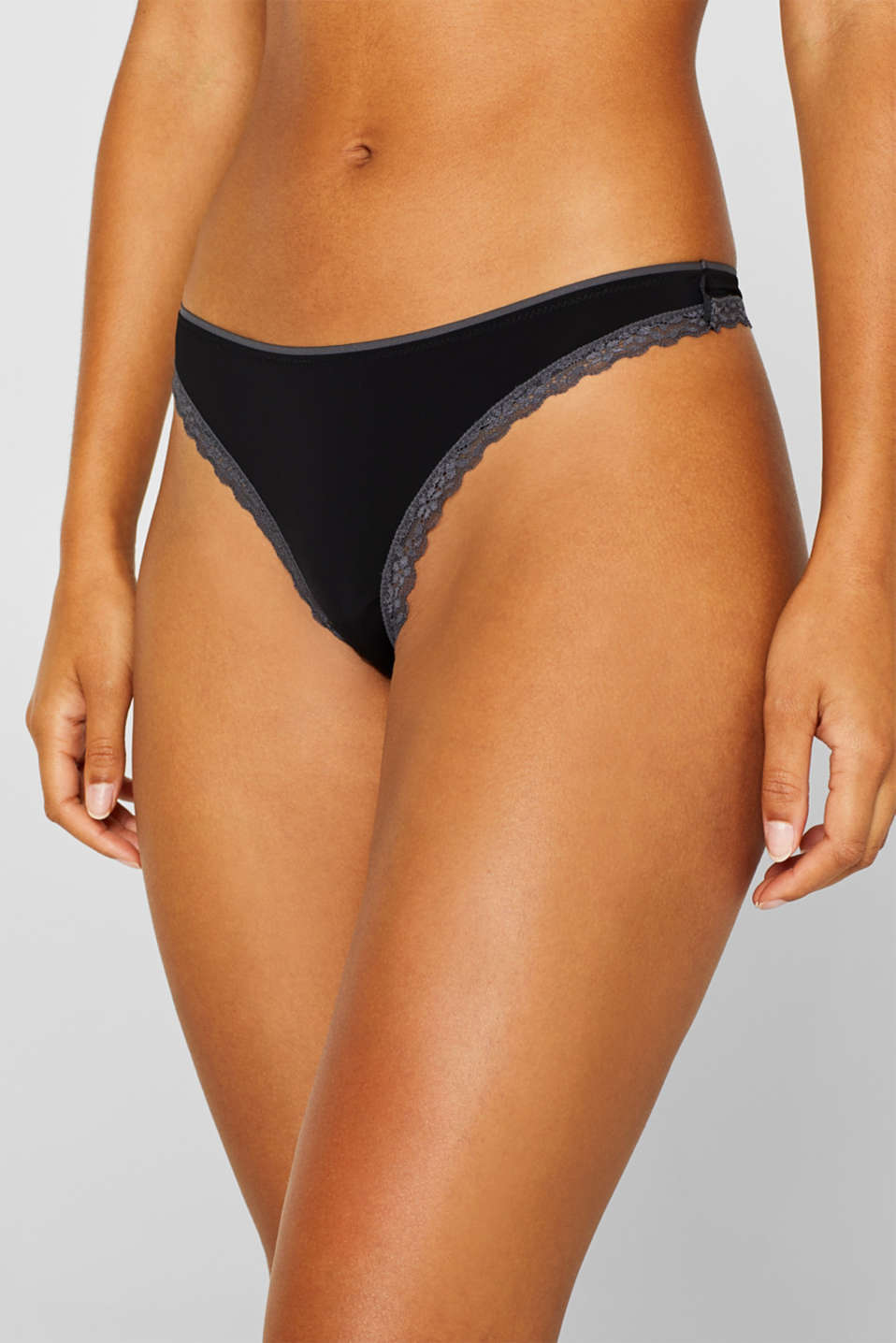 Lace trimmed thong, BLACK, detail image number 1