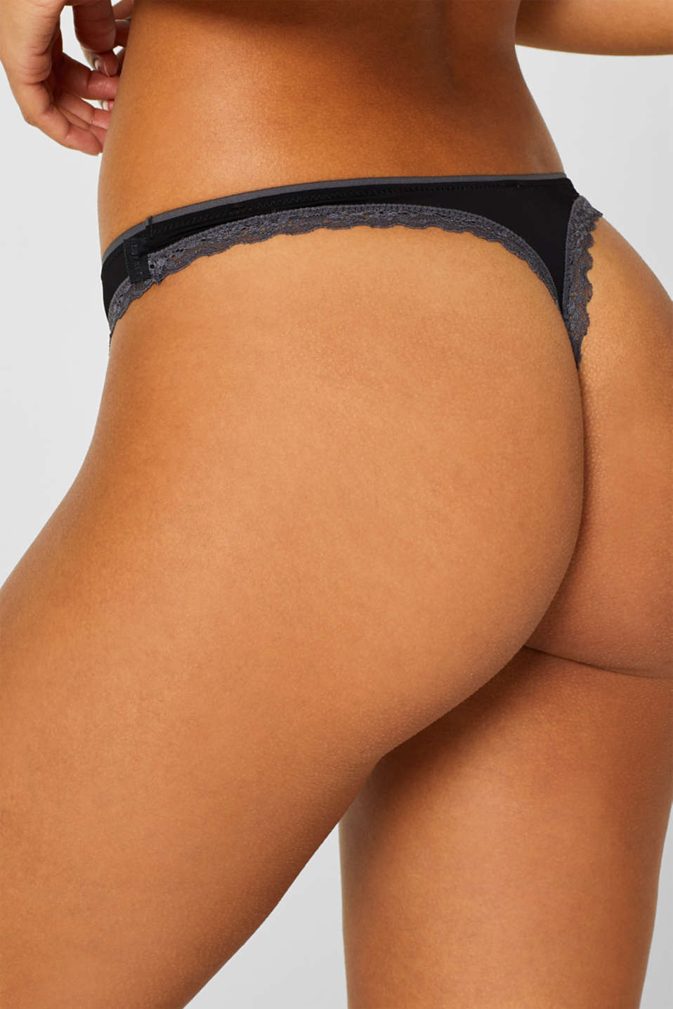 Lace trimmed thong, BLACK, detail image number 3