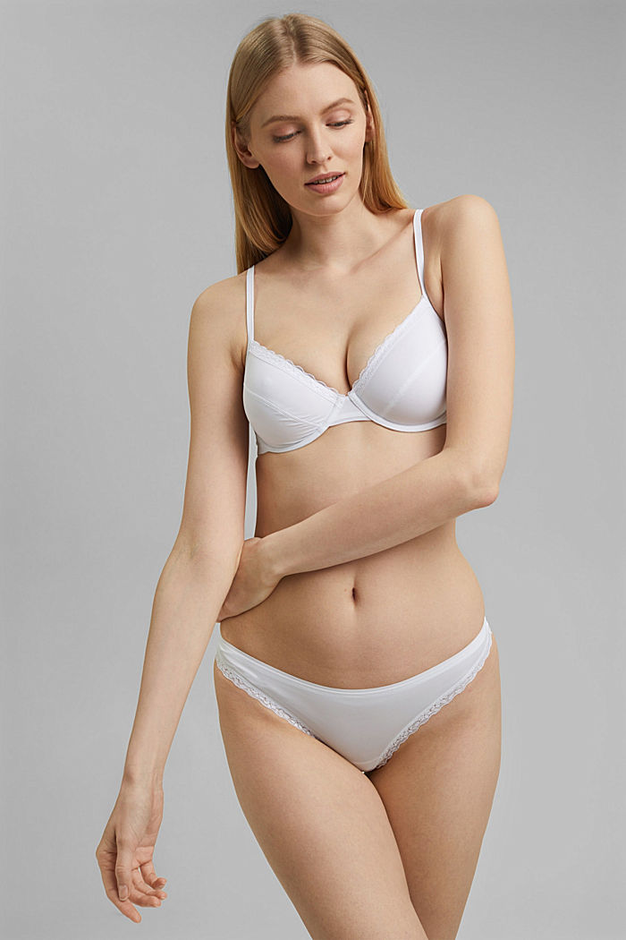 Thong with lace trims, WHITE, detail image number 0
