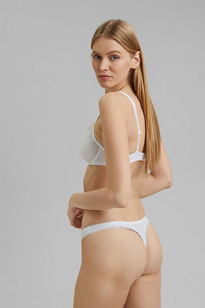 Thong with lace trims, WHITE, detail image number 2