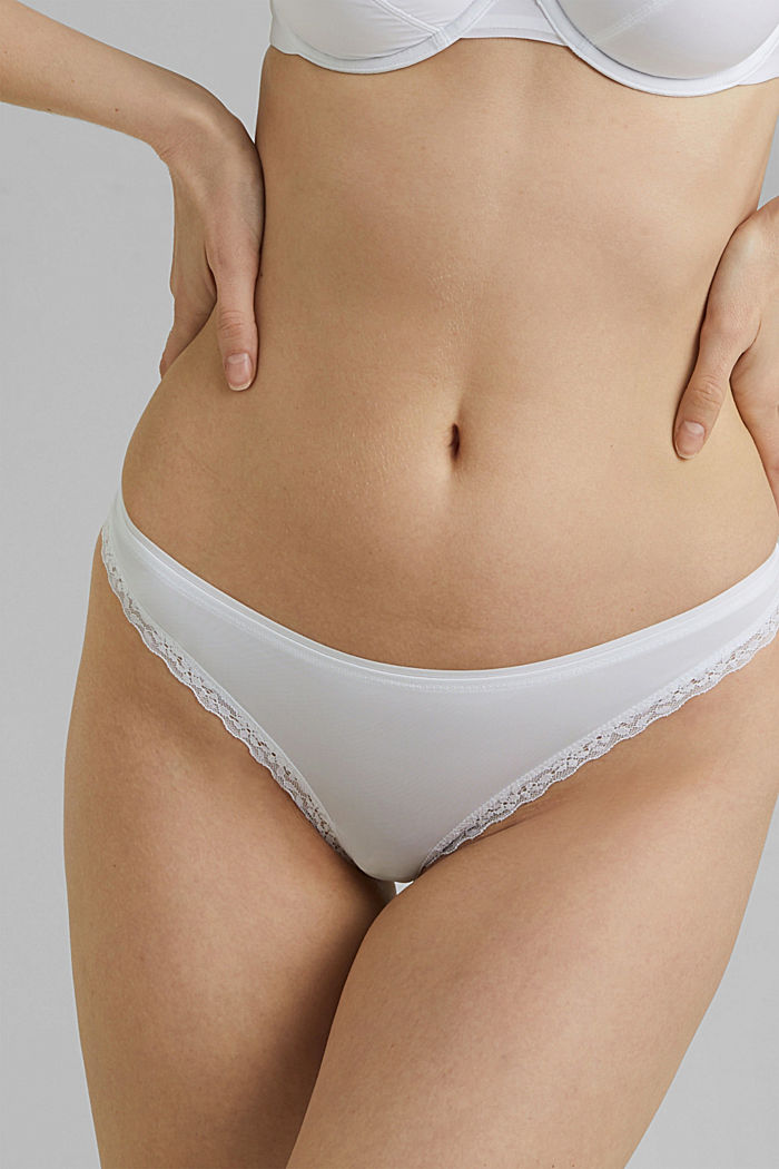 Thong with lace trims, WHITE, detail image number 1