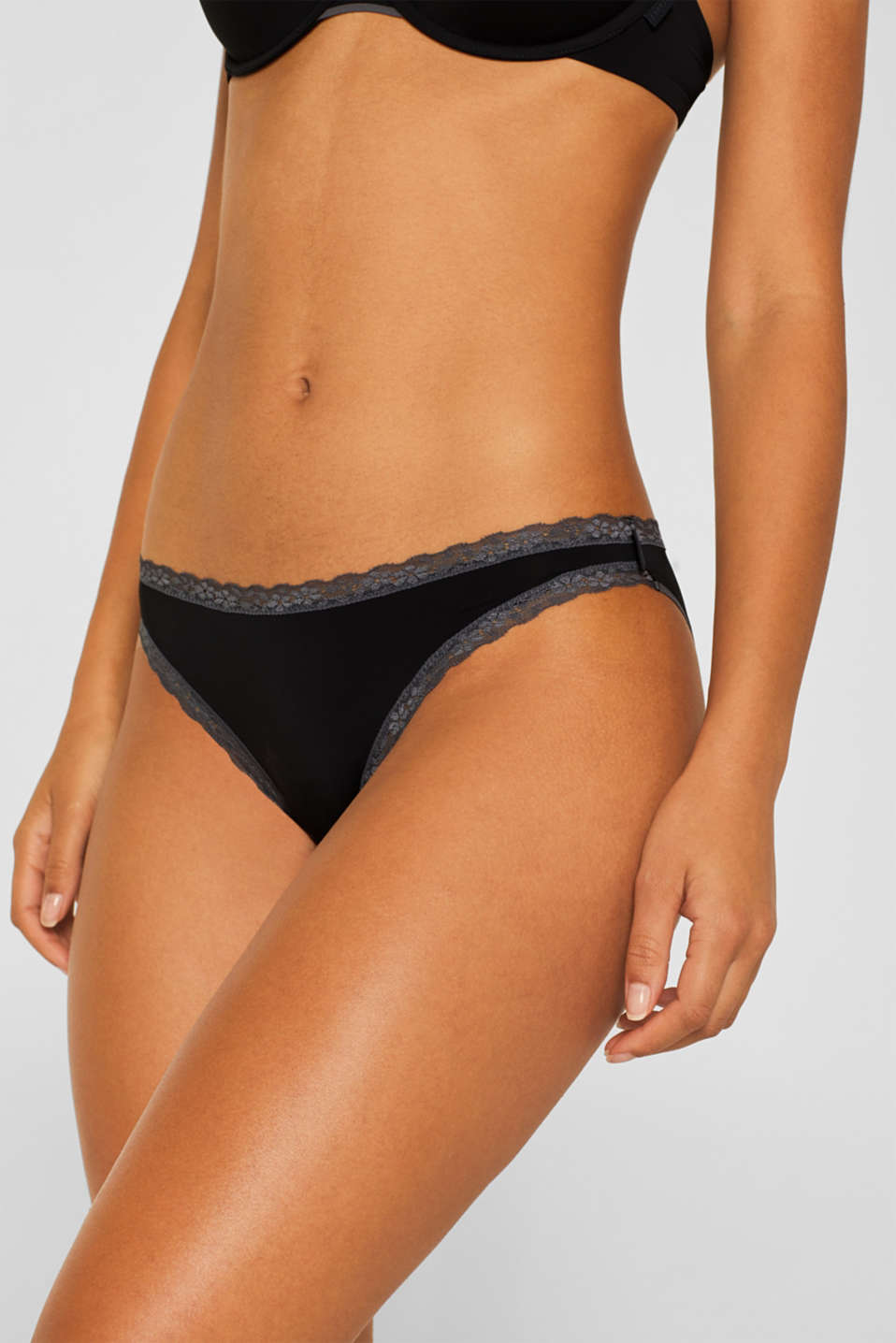 Hipster briefs with lace trim, BLACK, detail image number 1