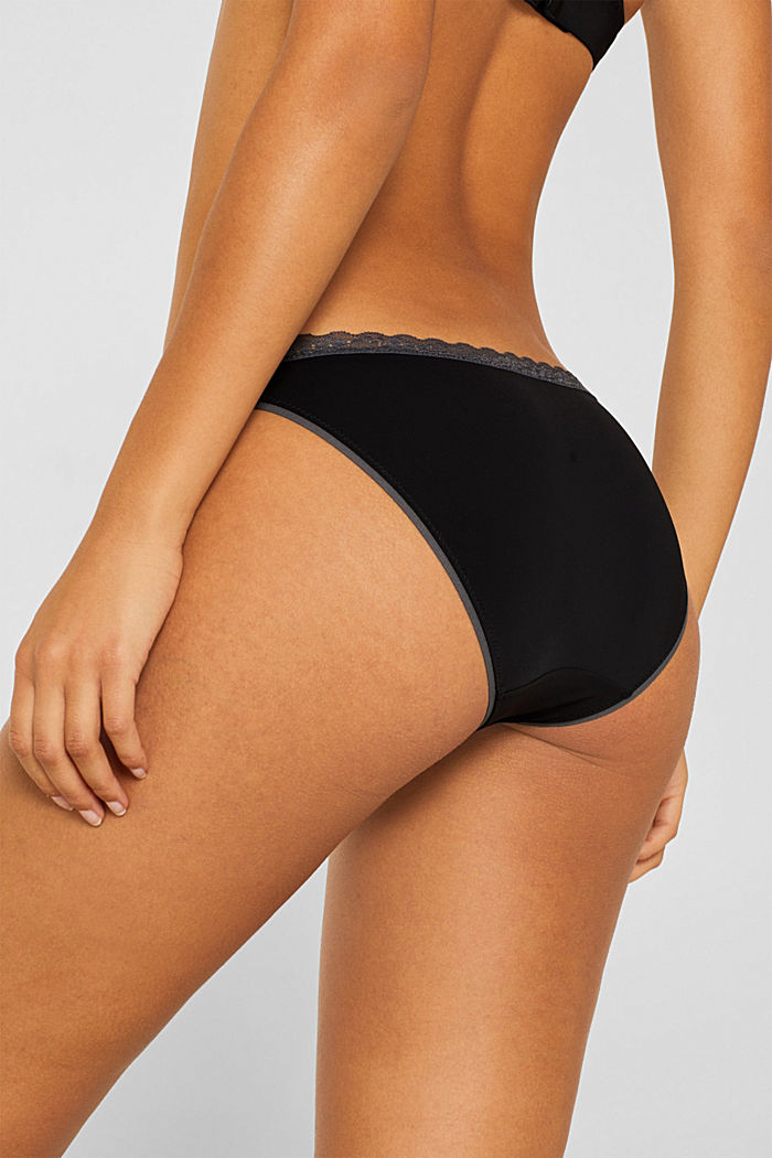 Hipster briefs with lace trim, BLACK, detail image number 3