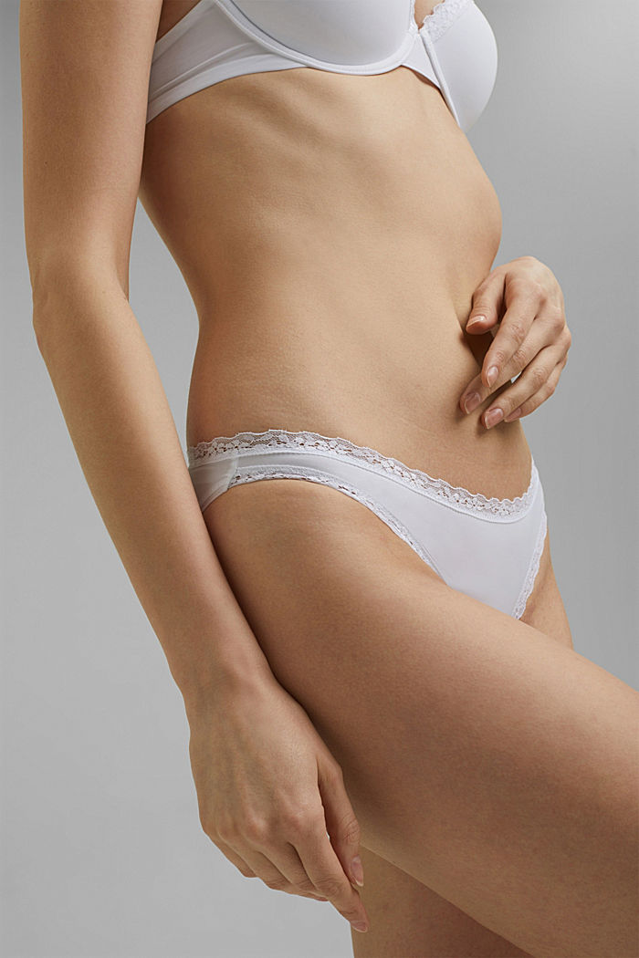 Hipster briefs with lace trim, WHITE, detail image number 1