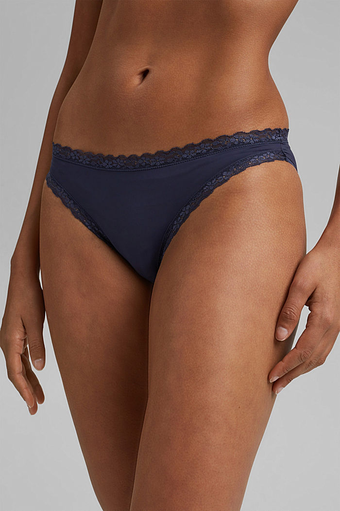 Hipster briefs with lace trim, HAPPY NAVY, detail image number 1