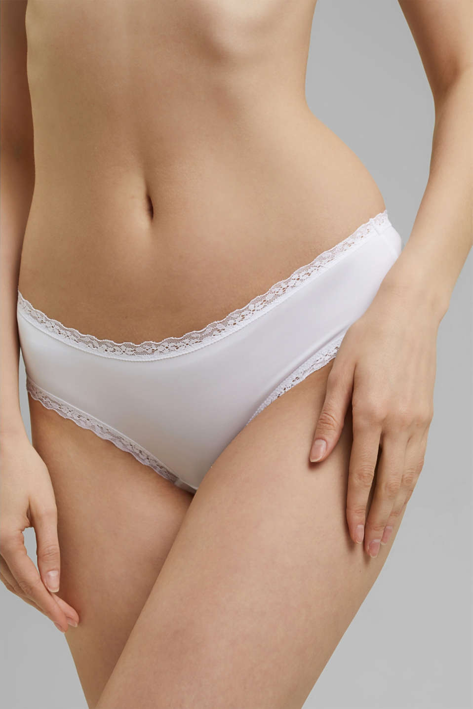 Hipster shorts with lace details, WHITE, detail image number 0