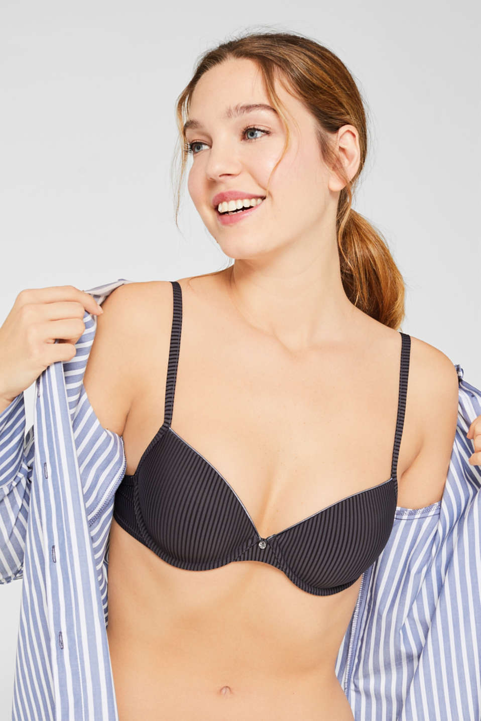 T-shirt bra with textured stripes, HOT STONE, detail image number 3