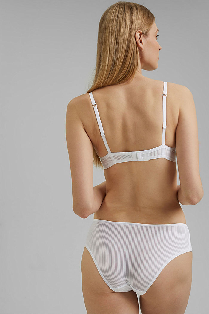 T-shirt bra with textured stripes, WHITE, detail image number 1