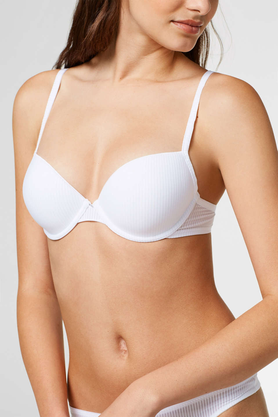 Push-up bra with textured stripes, WHITE, detail image number 2
