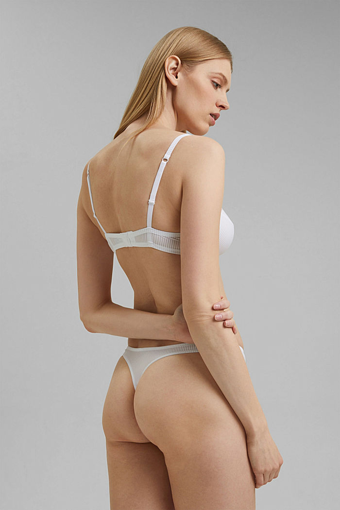 Soft thong with textured stripes, WHITE, detail image number 2