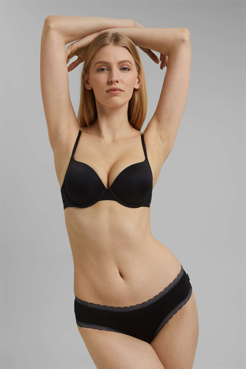 simple T-shirt bra, BLACK, detail image number 0