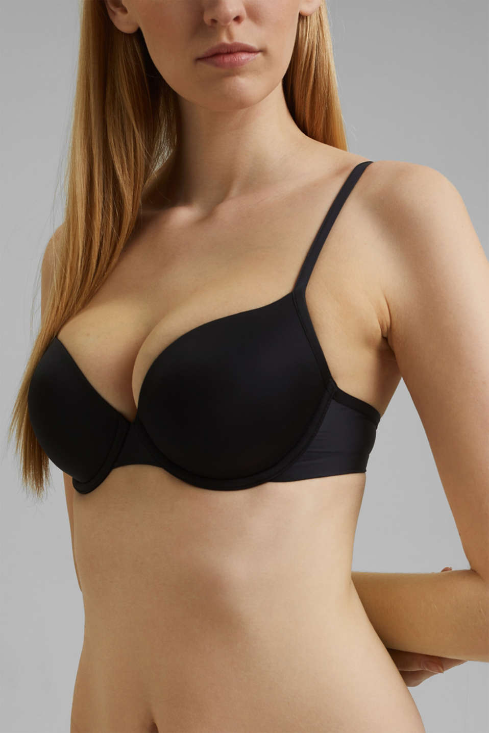 simple T-shirt bra, BLACK, detail image number 2