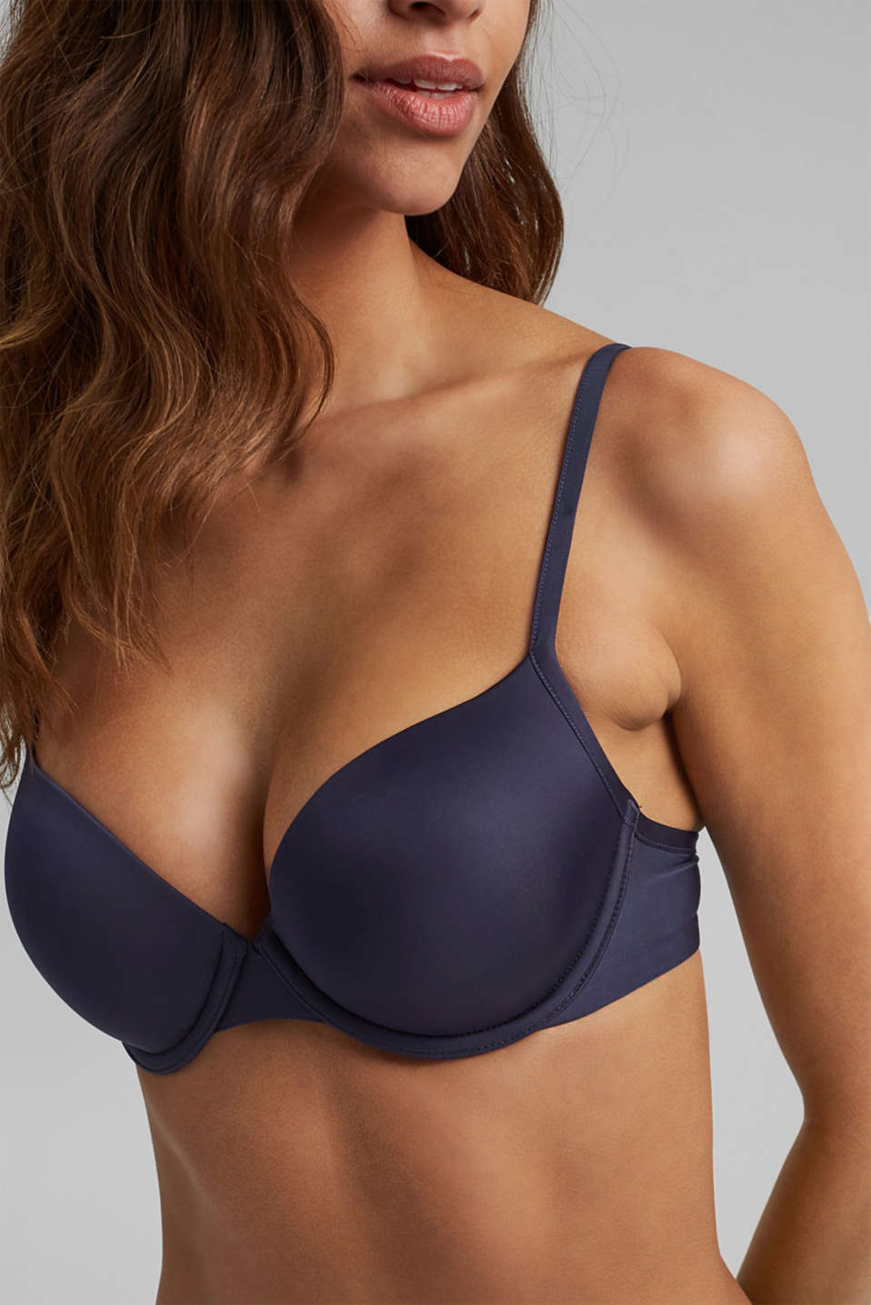 simple T-shirt bra, HAPPY NAVY, detail image number 2