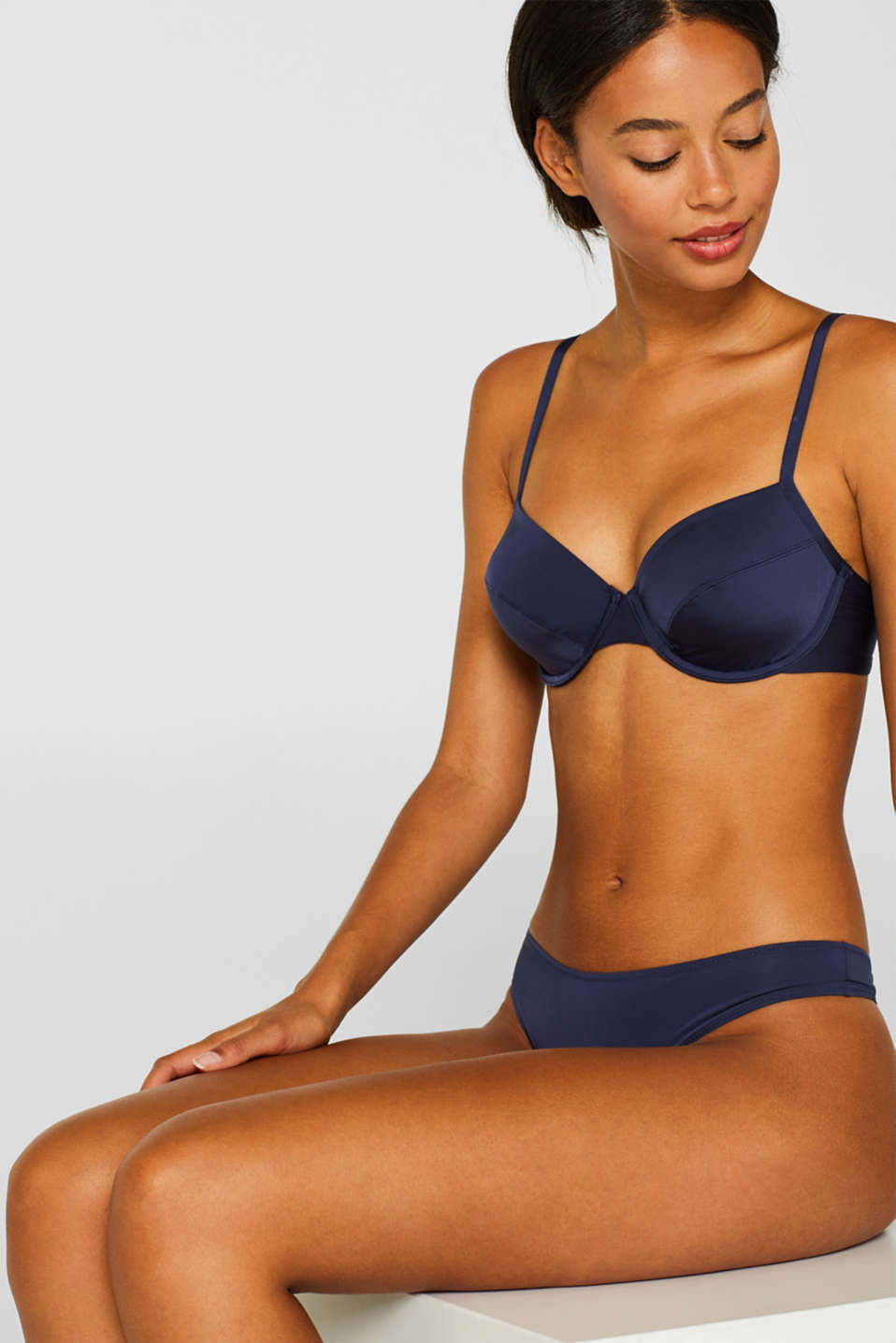 silky T-shirt bra, HAPPY NAVY, detail image number 0
