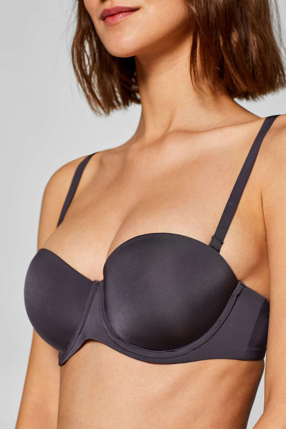 Padded underwire bra with detachable straps, DARK GREY, detail image number 2