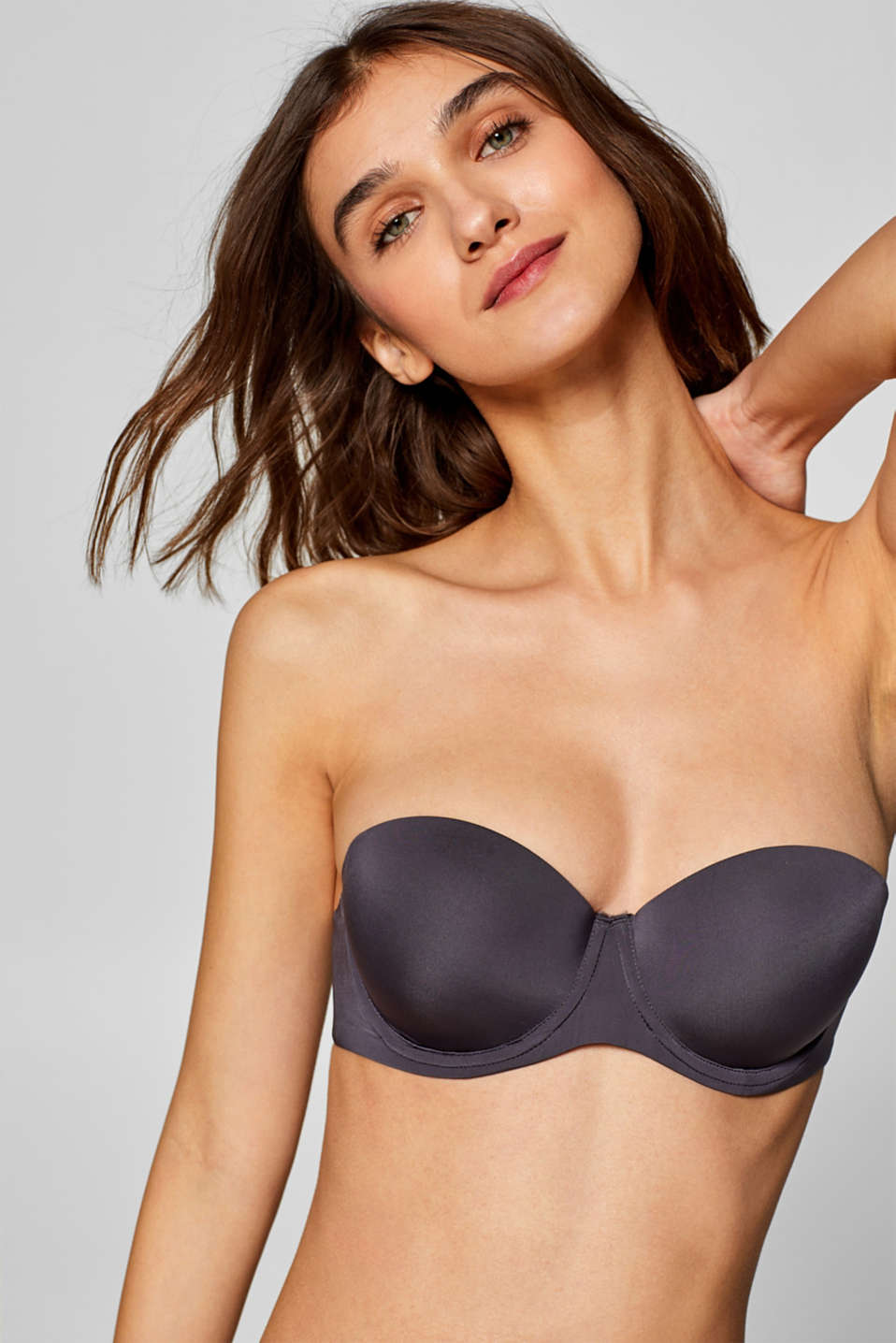Padded underwire bra with detachable straps, DARK GREY, detail image number 3