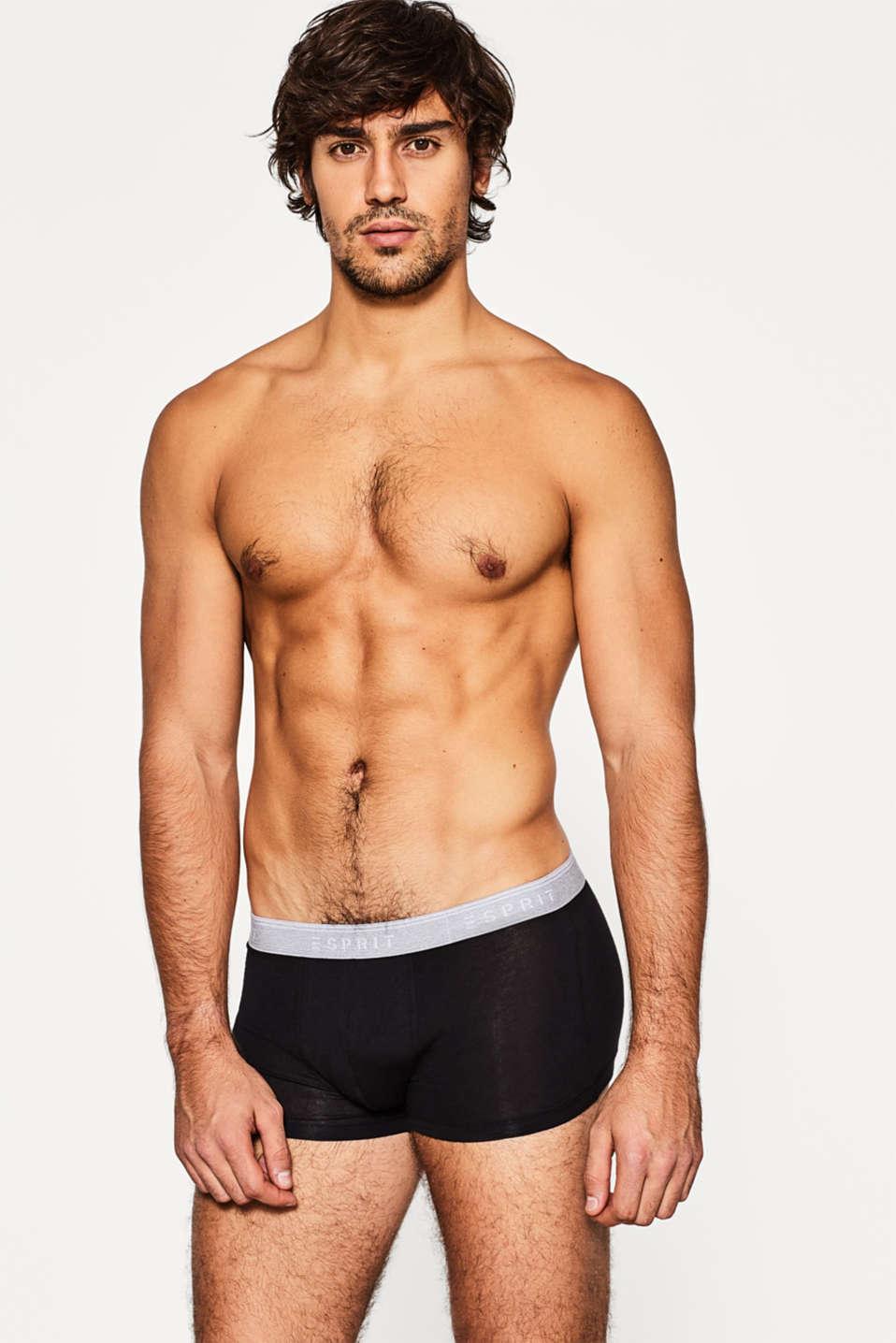 Stretch cotton hipster shorts, BLACK, detail image number 0