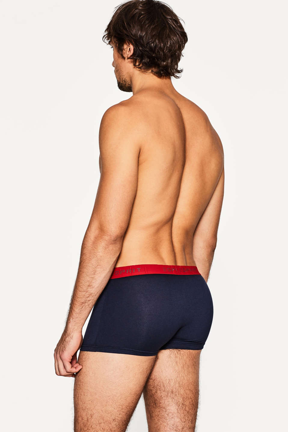 3 pack of stretch, contrasting hipster shorts, NAVY, detail image number 1