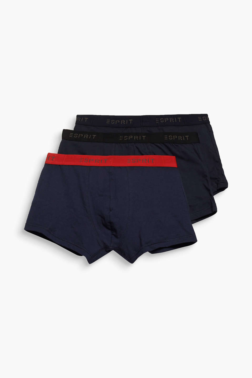 Esprit - 3 pack of stretch, contrasting hipster shorts