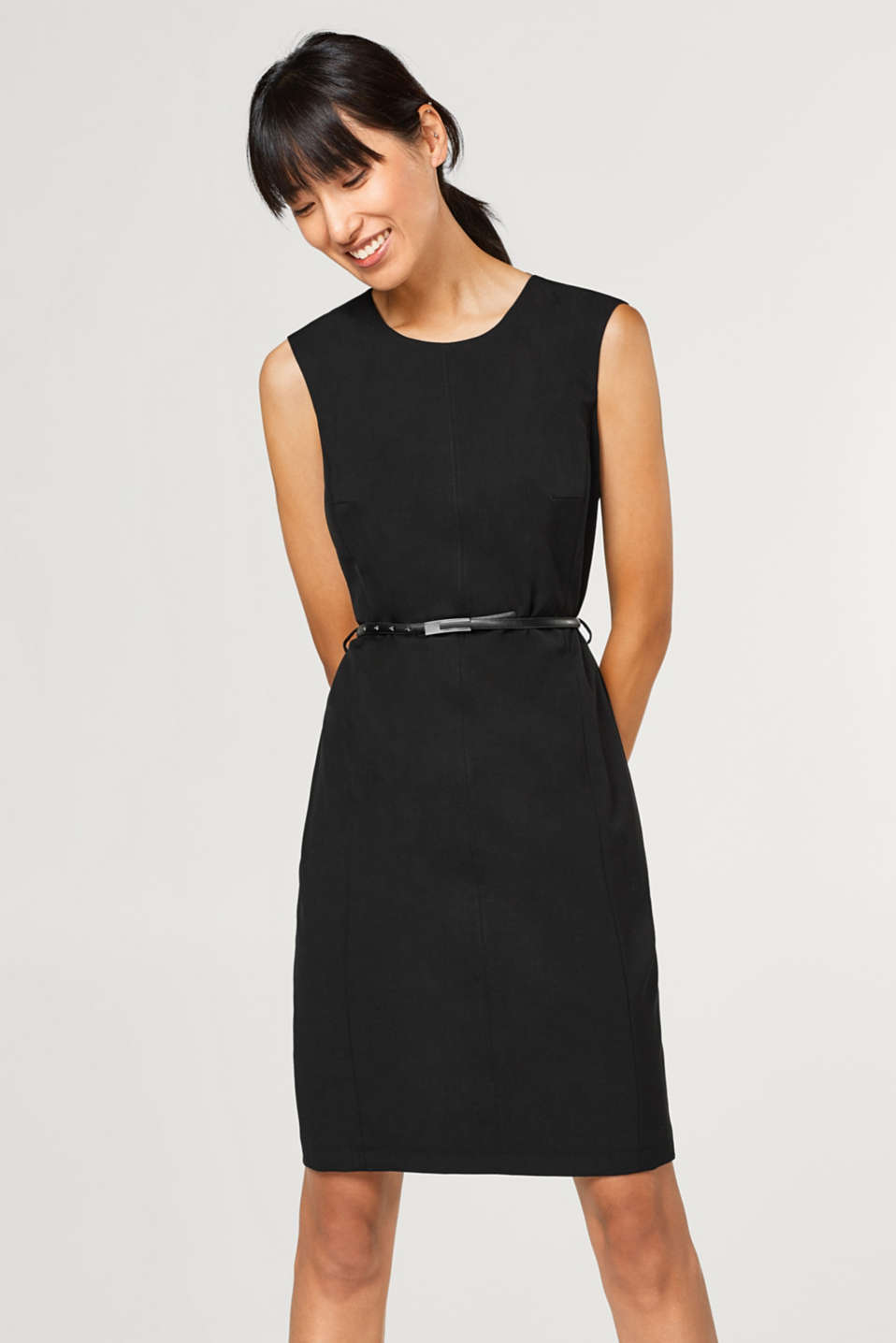 Esprit - Fitted stretch dress + belt