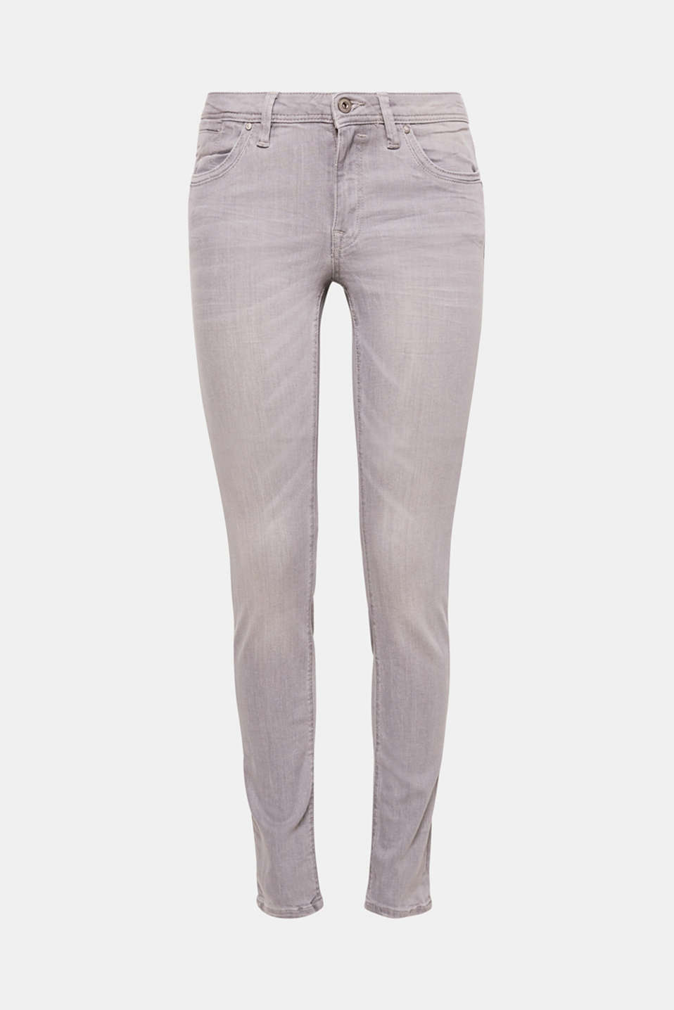 Fashionable, grey overdyed five-pocket jeans in stretchy cotton denim