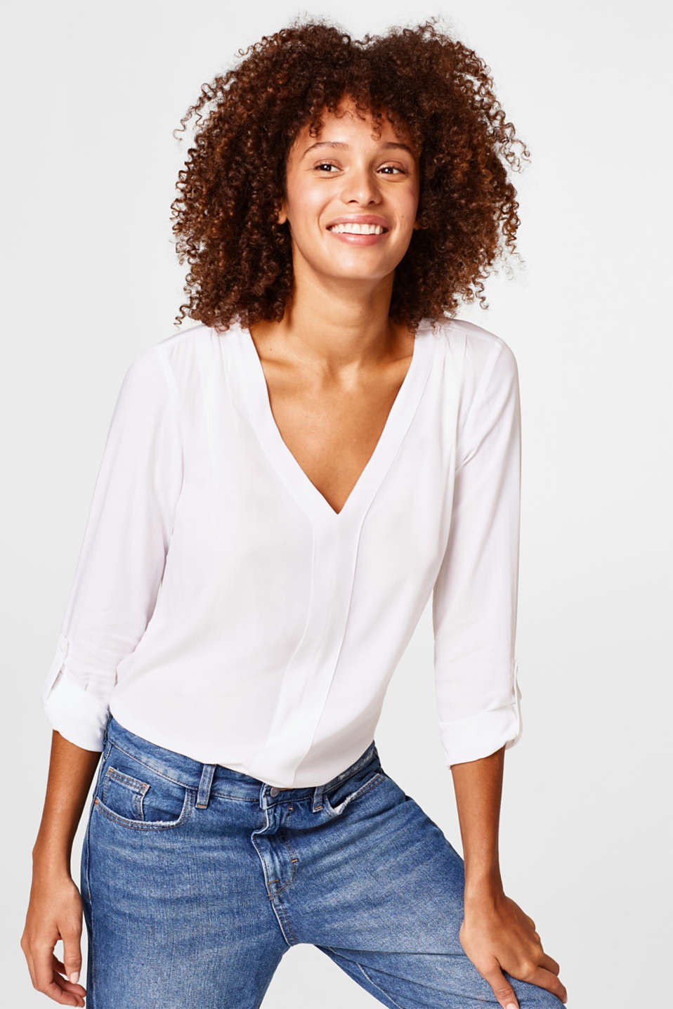 edc - Flowing blouse with turn-up sleeves
