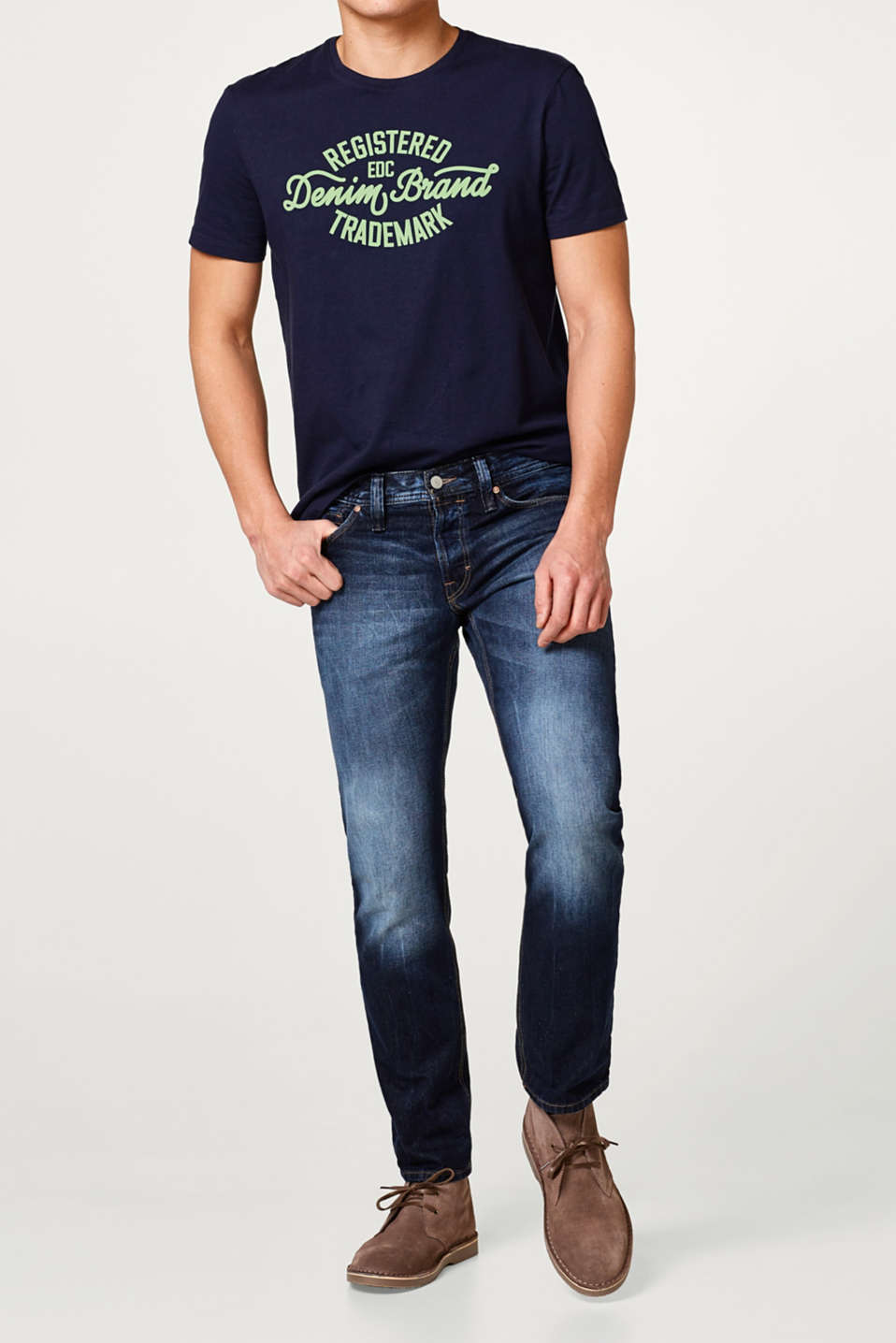 edc - 5 pocket-jeans, non stretch-denim.