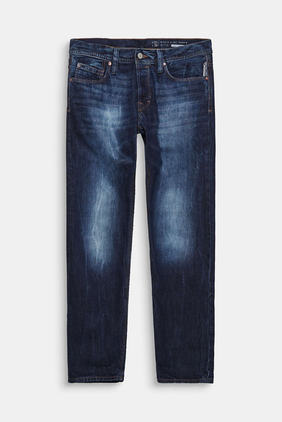 van non-stretchy denim. Coole basic jeans in recht 5-pocket-model
