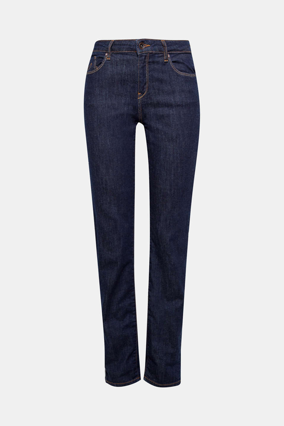 These straight cut stretch jeans made of dark denim in a classic five-pocket design are the perfect essential!