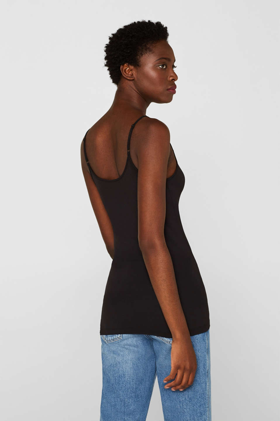 Stretch top with adjustable spaghetti straps, BLACK, detail image number 3