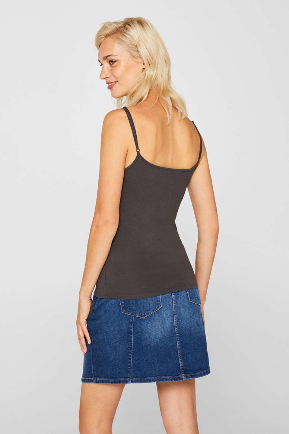 Stretch top with adjustable spaghetti straps, DARK GREY 4, detail image number 3