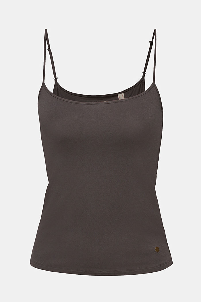 Stretch top with adjustable spaghetti straps, DARK GREY, detail image number 0