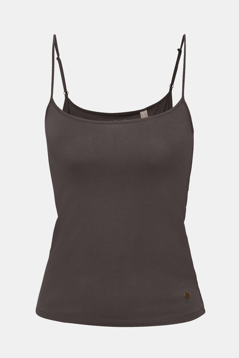 Stretch top with adjustable spaghetti straps, DARK GREY 4, detail image number 7