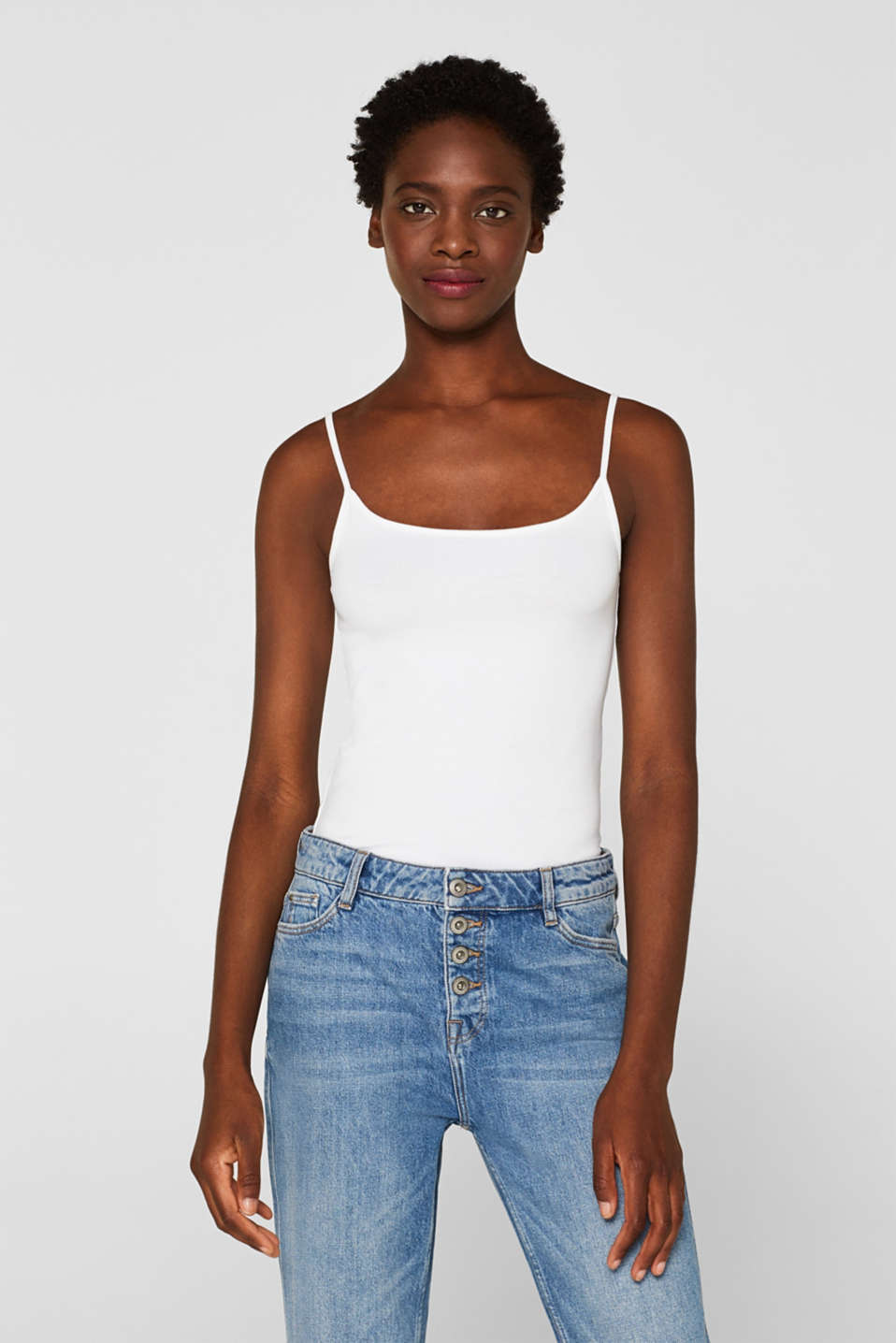 Esprit - Stretch top with adjustable spaghetti straps