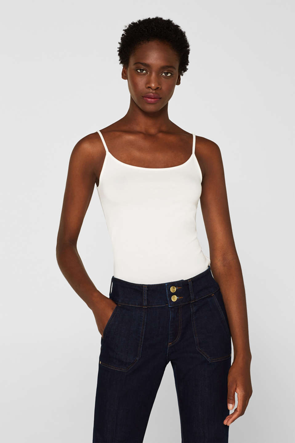 Stretch top with adjustable spaghetti straps, OFF WHITE, detail image number 0