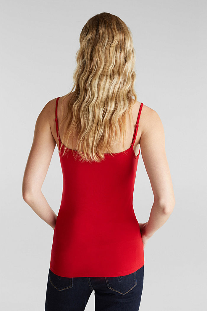 Stretch top with adjustable spaghetti straps, DARK RED, detail image number 3