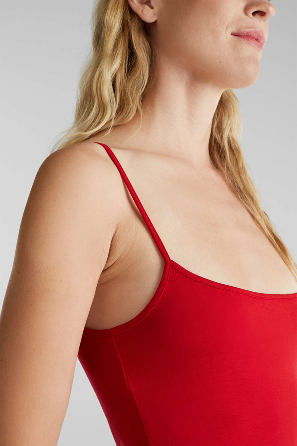 Stretch top with adjustable spaghetti straps, DARK RED, detail image number 2