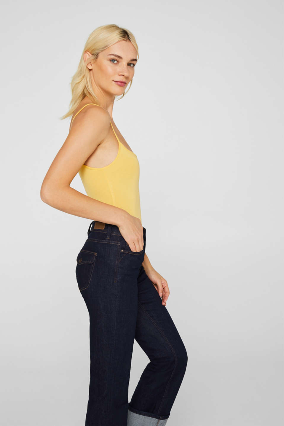 Stretch top with adjustable spaghetti straps, YELLOW 4, detail image number 7