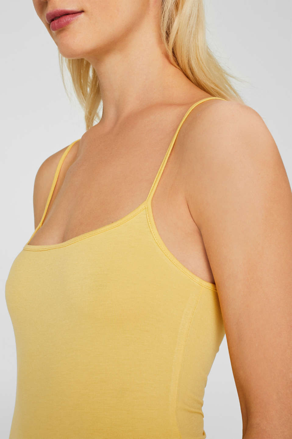 Stretch top with adjustable spaghetti straps, YELLOW 4, detail image number 2
