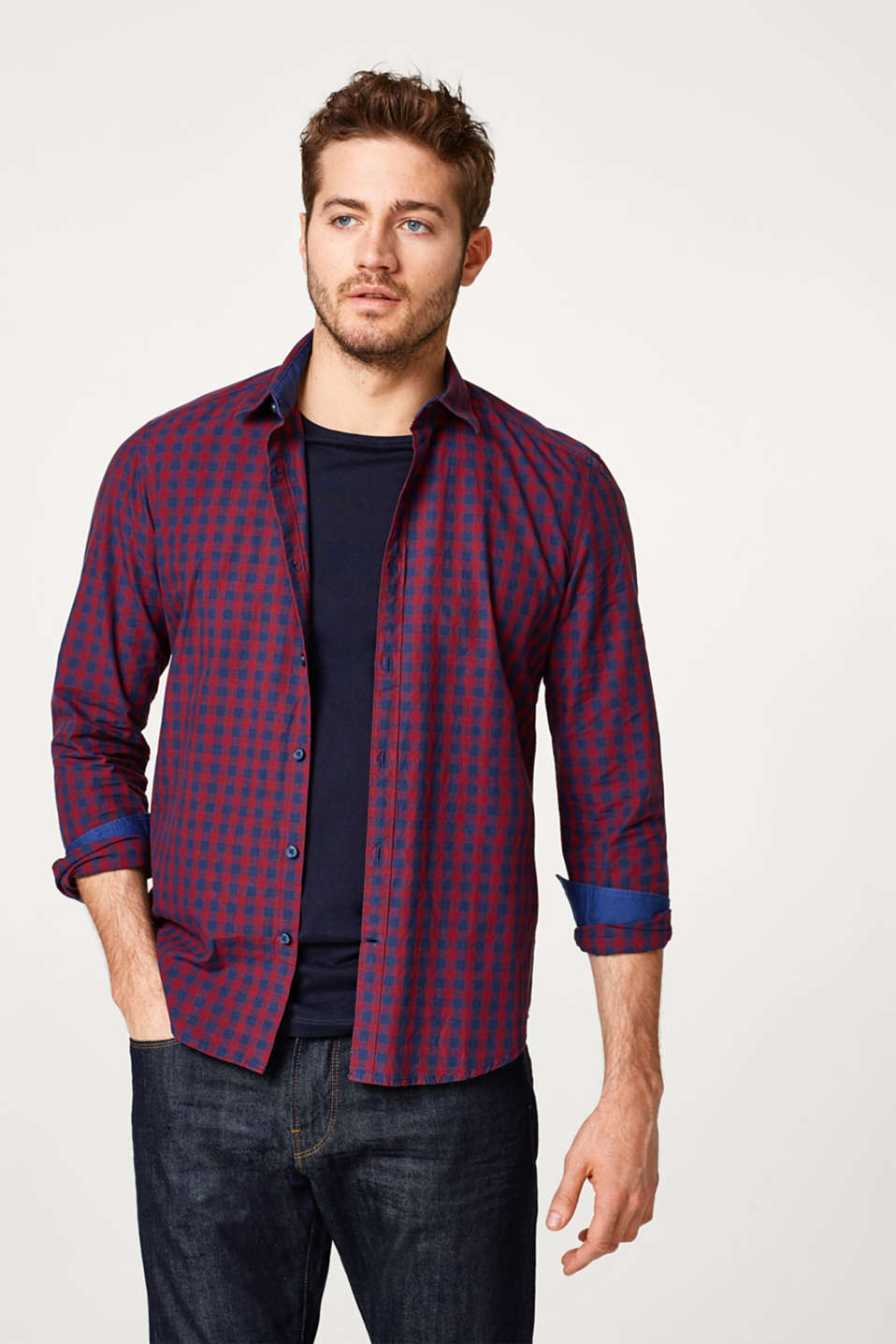 Esprit - Basic check shirt, 100% cotton